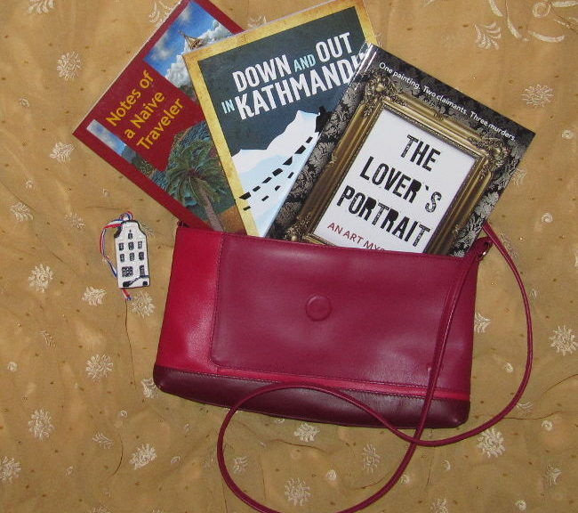 The Lover's Portrait, Notes of a naive Traveler, Down and Out in Kathmandu Mystery Art Theft Crime Fiction Travelogue Books in My Handbag