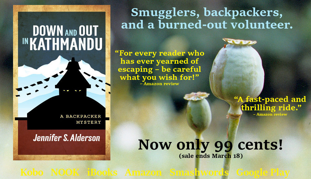 down and out in kathmandu, backpacker mystery, amateur sleuth, thriller, suspense, crime fiction, Nepal, Thailand