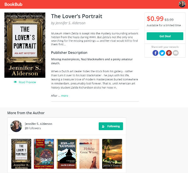 Jennifer S Alderson bestseller The Lover's Portrait art mystery amateur sleuth historical fiction art crime thriller