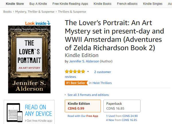 Jennifer S Alderson The Lover's Portrait art mystery amateur sleuth historical fiction art crime thriller