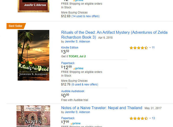 Jennifer S Alderson Rituals of the Dead artifact mystery amateur sleuth historical fiction art crime thriller bestseller
