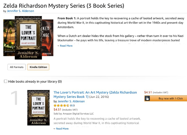 Zelda Richardson Mystery Series, Jennifer S Alderson, amateur sleuth, historical thrillers, WWII, Amsterdam, art theft, art crime, art mysteries