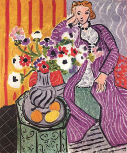 Henri Matisse's Woman in Purple Dress with Vase of Flowers